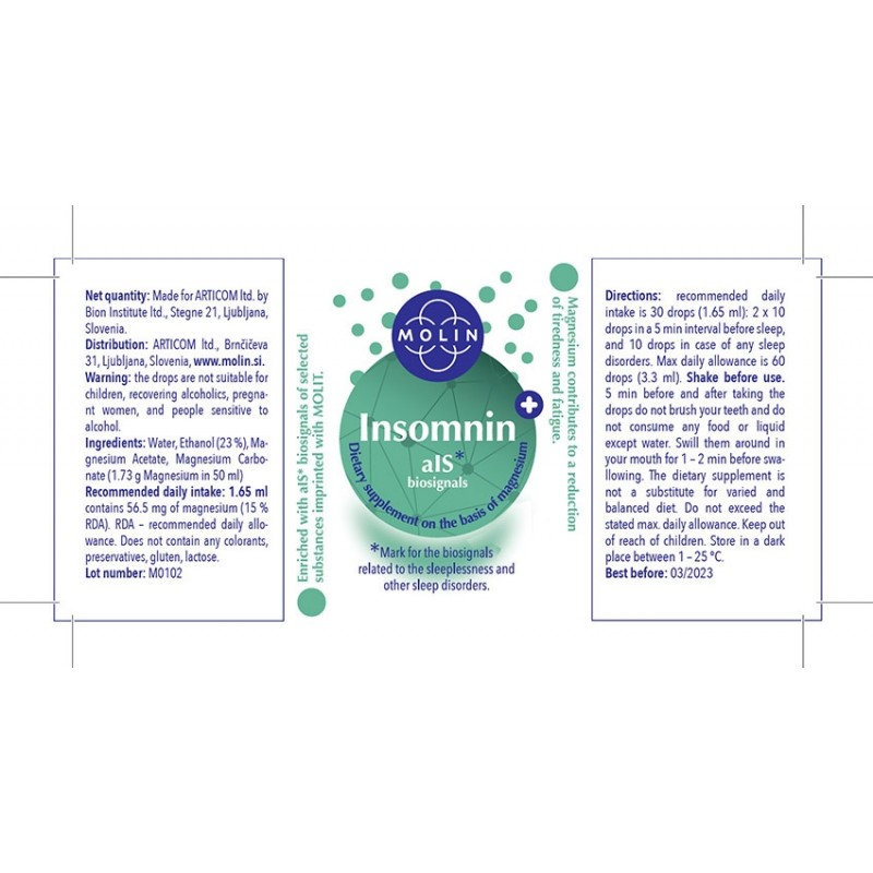 Insomnin 50ml For Insomnia And Sleep Disorders Sticker